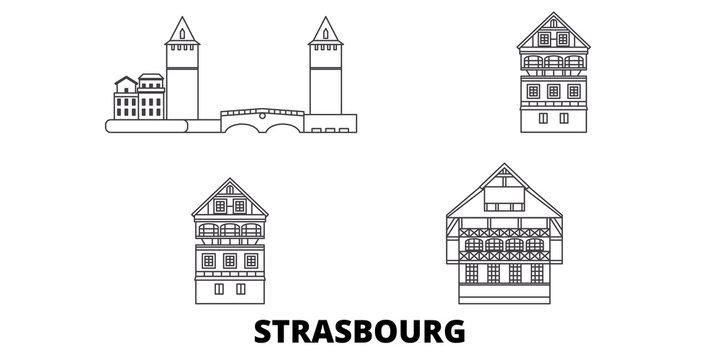 France, Strasbourg City flat travel skyline set. France, Strasbourg City black city vector panorama, illustration, travel sights, landmarks, streets.