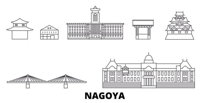 Japan, Nagoya flat travel skyline set. Japan, Nagoya black city vector panorama, illustration, travel sights, landmarks, streets.