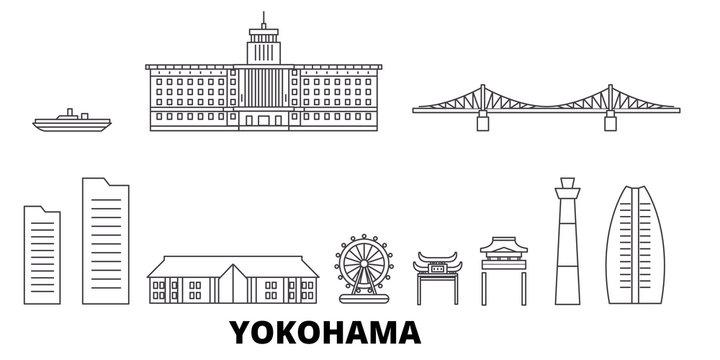Japan, Yokohama flat travel skyline set. Japan, Yokohama black city vector panorama, illustration, travel sights, landmarks, streets.