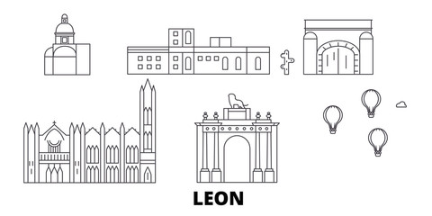 Mexico, Leon flat travel skyline set. Mexico, Leon black city vector panorama, illustration, travel sights, landmarks, streets.