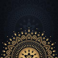 Gold mandala on black background. Banner template illustration