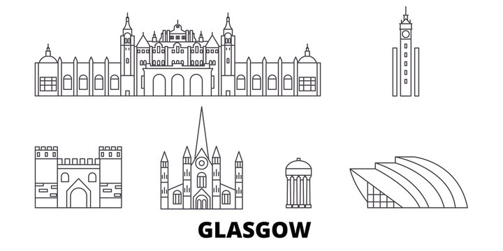 Scotland, Glasgow City flat travel skyline set. Scotland, Glasgow City black city vector panorama, illustration, travel sights, landmarks, streets.