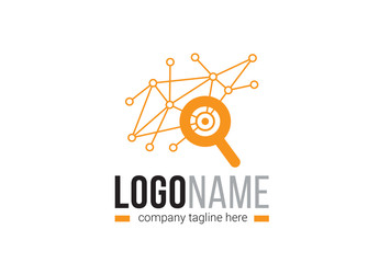 SEO and Network Logo Layout with Search Icon