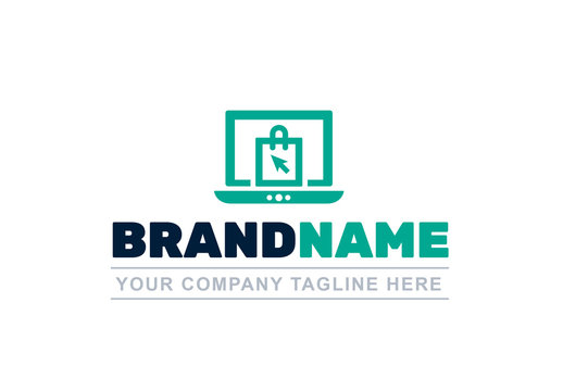 Logo Layout with Laptop and Shopping Bag Icons