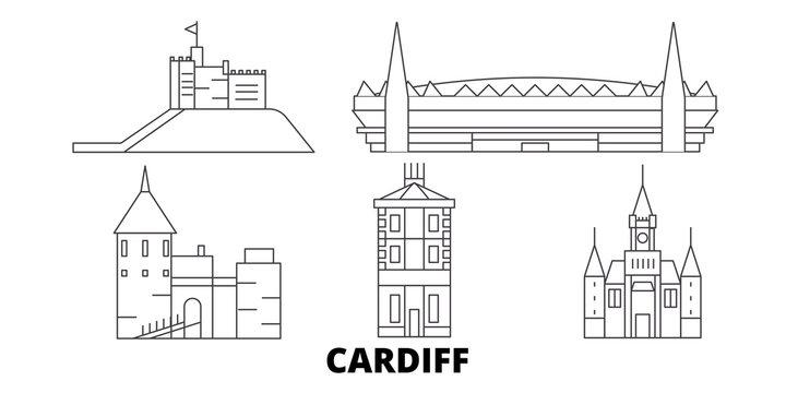 United Kingdom, Cardiff flat travel skyline set. United Kingdom, Cardiff black city vector panorama, illustration, travel sights, landmarks, streets.