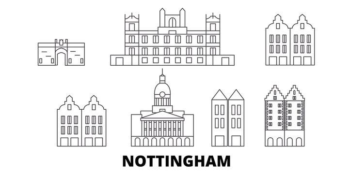 United Kingdom, Nottingham flat travel skyline set. United Kingdom, Nottingham black city vector panorama, illustration, travel sights, landmarks, streets.