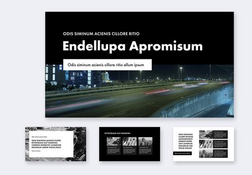 Portfolio Presentation Layout with Black and White Elements