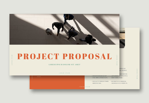 Project Proposal Presentation Layout with Green and Orange Accents