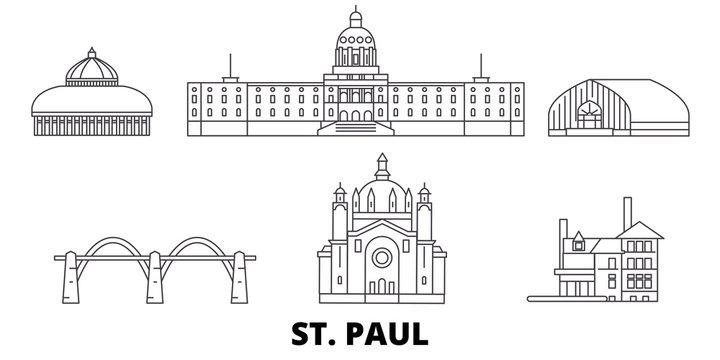 United States, St. Paul flat travel skyline set. United States, St. Paul black city vector panorama, illustration, travel sights, landmarks, streets.