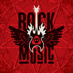 Vector banner with words Rock music, with electric guitar and wings on fire on the red background with pentacle. Can be used for flyers, posters, t-shirt design, tattoo