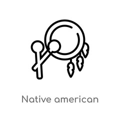 outline native american drum vector icon. isolated black simple line element illustration from culture concept. editable vector stroke native american drum icon on white background
