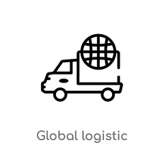 outline supply chain vector icon  isolated black simple line