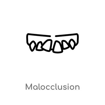 outline malocclusion vector icon. isolated black simple line element illustration from dentist concept. editable vector stroke malocclusion icon on white background