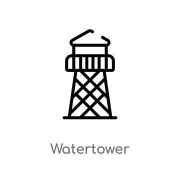 outline watertower vector icon. isolated black simple line element illustration from wild west concept. editable vector stroke watertower icon on white background