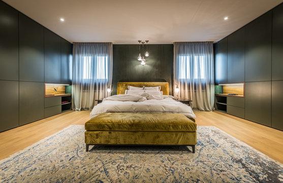 Master bedroom interior in luxury apartment