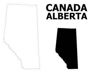 Vector Contour Dotted Map of Alberta Province with Name