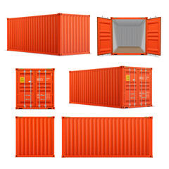 Obraz Realistic set of bright red cargo containers.   Front, side back and perspective view.  Open and closed - fototapety do salonu