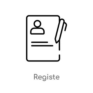 outline registe vector icon. isolated black simple line element illustration from education concept. editable vector stroke registe icon on white background