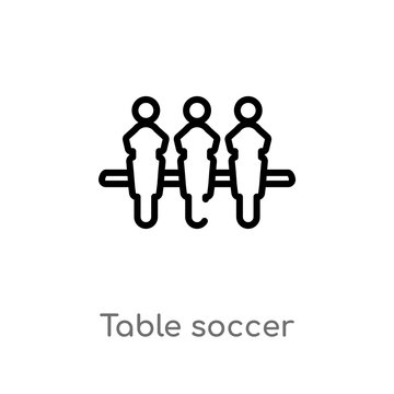 outline table soccer vector icon. isolated black simple line element illustration from entertainment concept. editable vector stroke table soccer icon on white background