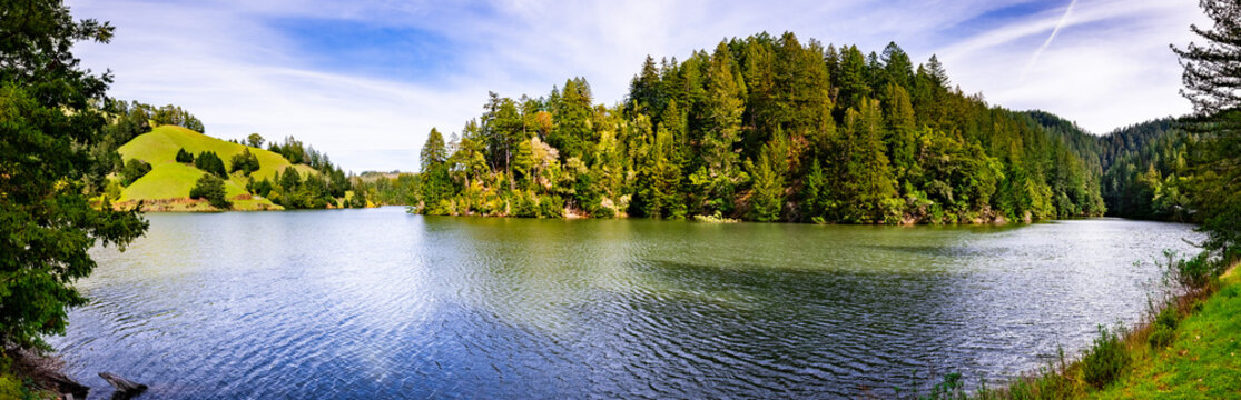 Alpine Lake on a sunny day, Marin county, north San Francisco bay area, California