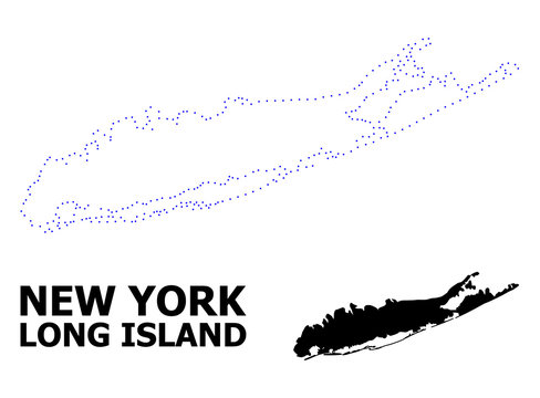 Vector Contour Dotted Map of Long Island with Name