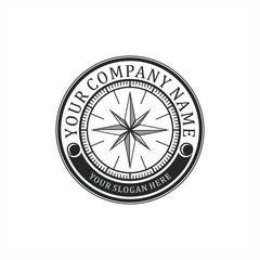 vintage logo design for compass