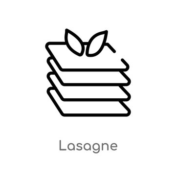 outline lasagne vector icon. isolated black simple line element illustration from gastronomy concept. editable vector stroke lasagne icon on white background