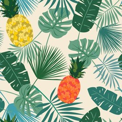 Exotic seamless repeat pattern with colorful pineapples and tropical leaves  on an ivory background