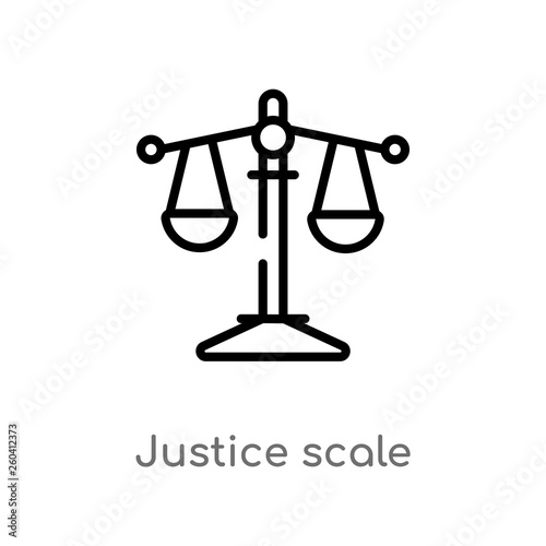 outline justice scale vector icon  isolated black simple line