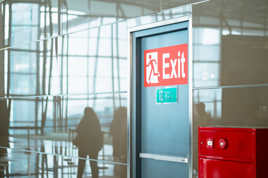 empty closed emergency exit door at airport