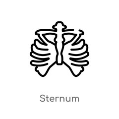 outline sternum vector icon. isolated black simple line element illustration from medical concept. editable vector stroke sternum icon on white background