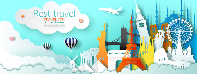 Wall Mural - Travel business landmarks tourism world famous architecture by balloon.