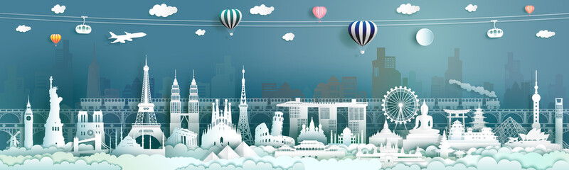 Wall Mural - Travel landmarks famous world architecture monuments popular.