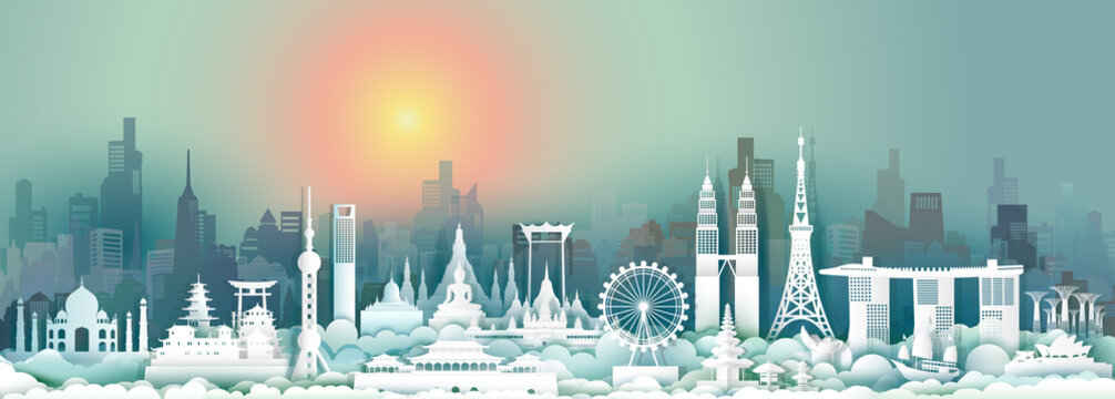 Travel landmark Asia with downtown cityscape skyline and asean tourism.