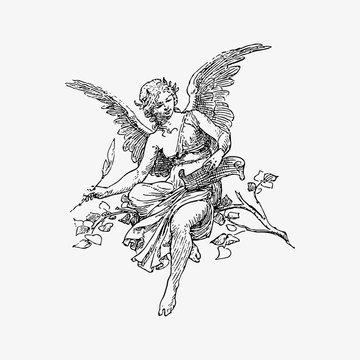 Female angel vintage drawing