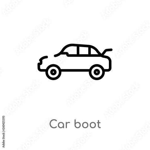 Outline Car Boot Vector Icon Isolated Black Simple Line Element
