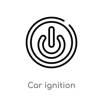 outline car ignition vector icon. isolated black simple line element illustration from car parts concept. editable vector stroke car ignition icon on white background