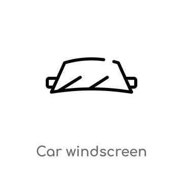 outline car windscreen vector icon. isolated black simple line element illustration from car parts concept. editable vector stroke car windscreen icon on white background