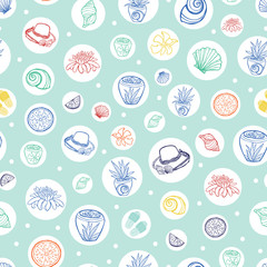 Vector pastel green tropical beach resort repeat pattern with circles. Suitable for gift wrap, textile and wallpaper.