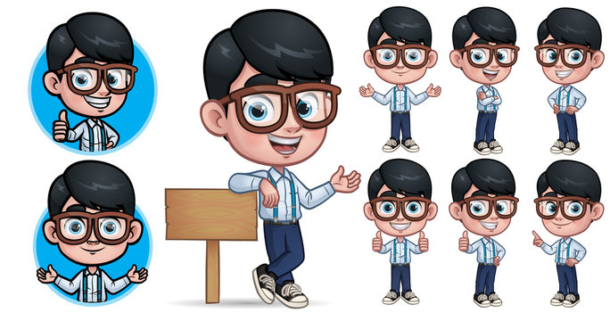 Cartoon Geek Boy Mascot Character with 7 Poses_EPS 10 Vector