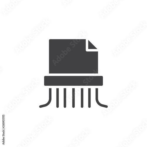 Paper shredding vector icon  Destroy file filled flat sign