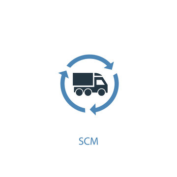 SCM concept 2 colored icon. Simple blue element illustration. SCM concept symbol design. Can be used for web and mobile UI/UX