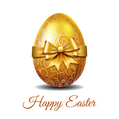 Gold Easter egg tied of golden ribbon