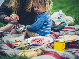 Mother and toddler having a picnic outdoors