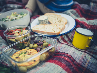 Picnic spread with toddler