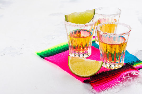 Mexican golden tequila shots