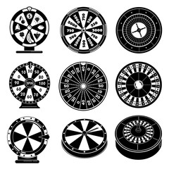Roulette icons set. Simple set of roulette vector icons for web design on white background