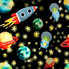 Poster Kosmos space pattern with planets and rocket