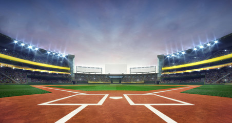 Grand baseball stadium field diamond daylight view, modern public sport building 3D render background. Fototapete