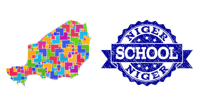 Mosaic Map of Niger and Grunge School Stamp Collage